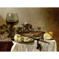 Натюрморт с херинга, вино и хляб (1627)